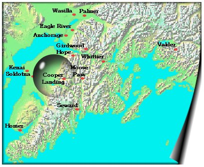 The Hutch Bed and Breakfast Cooper Landing, Alaska   Area Map